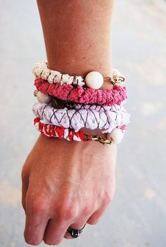 Cute craft idea-Gypsy Bangle Bracelet Stack - Pink Textile Bracelet Set - Rag Doll Collection