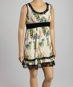 Yummy Khaki Floral Empire-Waist Dress - Plus by Yummy #zulily #zulilyfinds
