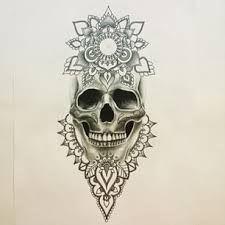 sugar skull flower tattoo image - Google Search