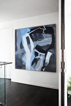Minimalist Painting  #XB113A, Hand painted minimal art on canvas, blue, black, white, grey, by CZ Art Design @CelineZiangArt