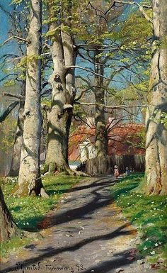 """View of Fredensborg with children on a path in the woods"" (1893) By Peder Mørk Mønsted (Peter Mork Monsted), from Denmark (1859 - 1941) - oil on canvas; 41 x 24 cm - He was a Danish realist painter"