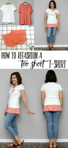fashion refashioning shirt makeover How to add fabric to bottom of shirts - simple tshirt refashion Sewing Patterns Free, Free Sewing, Sewing Tutorials, Sewing Projects, Sewing Tips, Sewing Hacks, Sewing Ideas, Sewing Crafts, Diy Projects