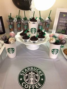 Starbucks themed cupcakes 18th Birthday Party Ideas For Girls, 13th Birthday Parties, Golden Birthday, 20th Birthday, Birthday Party Themes, Starbucks Birthday Party, Starbucks Cupcakes, Birthday Pancakes, Farewell Parties