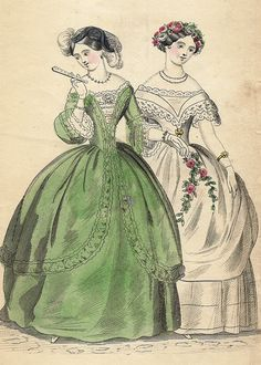 "VINTAGE FASHION PRINT DESCRIPTION This hand colored lithograph print is from ""COURT MAGAZINE"". It was published by H. Carey in London in about 1850. CONDITION This print has an image that is about 7"""