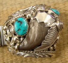 Item # 680A- XLG Men's Navajo Highly Decorated Turquoise Bear Claw Watchband by P.SPENCER — EAGLE ROCK TRADING POST-Native American  http://www.eaglerocktradingpost.com/