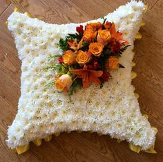 Cushion in flowers suitable for any funeral Funeral Arrangements, Dried Flower Arrangements, Wedding Arrangements, Dried Flowers, Funeral Flowers, Wedding Flowers, Funeral Tributes, Sympathy Flowers, Floral Design