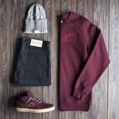 """It's never too soon for black & maroon as shown in today's grid featuring: Beanie by Syndicate-UKR, Crewneck by Well Dressed Vandals-AU, Denim by…"""