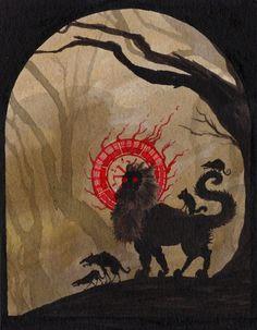 Saint Garbage-beard, patron saint of rabies and wild dogs india ink on paper Dark Fantasy, Art Sinistre, Art Noir, Occult Art, Baphomet, Art Et Illustration, Creepy Art, Fantasy Inspiration, Fantastic Art