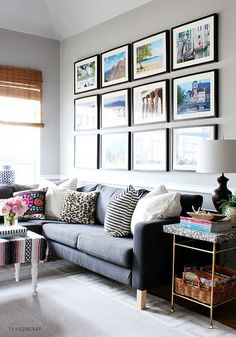 Home Decorating Ideas · From Etsy · Family Room With Gallery Wall. Photo  Frame Display, Display Photos, Travel Photo Displays