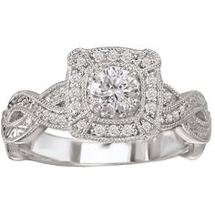<li>White diamond engagement ring</li><li>14k white gold jewelry</li><li><a href='http://www.overstock.com/downloads/pdf/2010_RingSizing.pdf'><span class='links'>Click here for ring sizing guide</span></a></li>