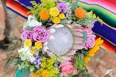 king protea & bright pastels bouquet Best Wedding Photography - Puerto Vallarta