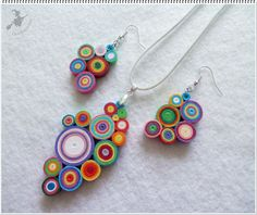 Quilling multicolor earrings and necklace set Paper Quilling Earrings, Quilling Work, Neli Quilling, Paper Quilling Designs, Quilling Jewelry, Quilling Paper Craft, Paper Jewelry, Fabric Jewelry, Paper Beads
