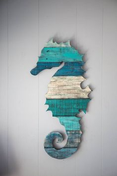 Seahorse Pallet Wood Wall Art by CoastalCreationsNJ on Etsy