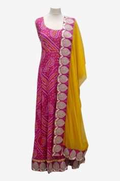 Bandhani silk anarkali - can be customised in different colours Anarkali Dress, Pakistani Dresses, Indian Dresses, Indian Outfits, Anarkali Suits, Salwar Designs, Blouse Designs, Lehenga Designs, Indian Attire