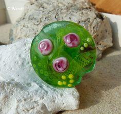 Handgewickelte Glasperle - Linse mit Rand - von glasswork auf DaWanda.com