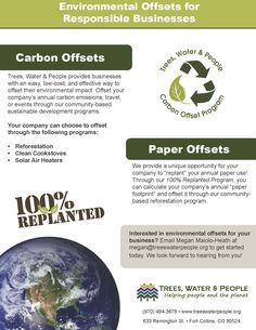 We offer carbon offsets for businesses! Learn more at http://treeswaterpeople.org/get_involved/reduce_your_impact/carbon_offsets/carbon_offsets.html