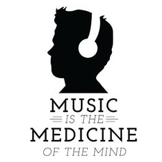 Music is Medicine Quote Silhouette with Heaphones - Black - Vinyl Wall Art Decal for Homes, Offices, Kids Rooms, Nurseries, Schools, High Schools, Colleges, Universities