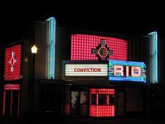 Restored vintage movie theater in Overland Park, Kansas.