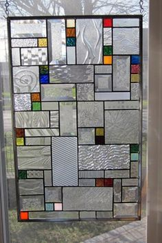 Maiko Stained Glass Window Panel Geometric Abstract EBSQ Artist