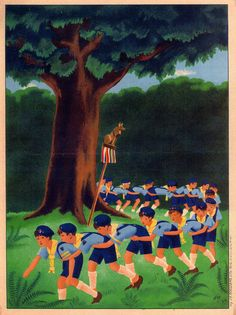 French poster depicting cub scouts from the Eclaireurs de France. Boy Illustration, Illustrations, Cub Scouts, Girl Scouts, Baden Powell Scouts, Scout Activities, Boys Life, 2 Boys, Vintage Advertisements
