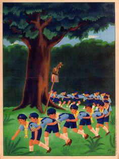 French poster depicting cub scouts from the 1940s. Eclaireurs de France. l'une des 4 Affichettes de Ric FROISSARD 1944. Branche Louveteaux.