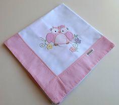 Cueiro Bordado Corujinha (Rosa) | BabyQuer Enxoval | Elo7