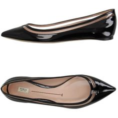 Furla Ballet Flats ($160) ❤ liked on Polyvore featuring shoes, flats, black, black skimmer, ballet flats, ballet shoes, black ballet flats and leather sole shoes