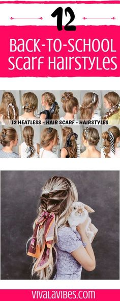 -Love the scrunchie scarf trend?  -Updos, braids, or half up.  -We've got 12 easy hairstyles for school to add a little style to your finished look. #hair #hairstyle #hairstyles #hairdo #shorthairdontcare #longhairdontcare #braid #braids #fishtail #frenchbraid #hairoftheday #hairideas #braidideas #hairfashion #coolhair #scarf #blogger #blogging #tips #hacks #howto #stepbystep #follow #follow4follow #like4like #tricks #pinoftheday #scrunchiescarf #scrunchie #videotutorial #tutorial…