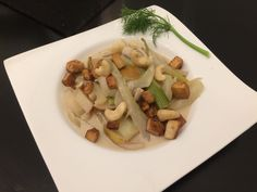 Fennel prepared with coconut milk, pears and cashews. Great combo!
