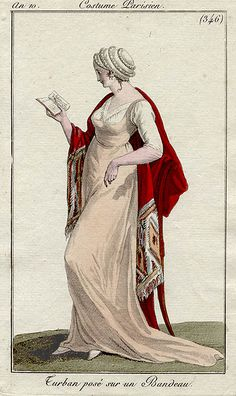 Reading in an elegant poise. Costumes Parisien, an 10, 1802