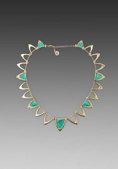 House of Harlow Goddess Trinity Collar Necklace in Gold/Turquoise