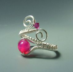 Pink agate ring, stone silver plated wire wrapped adjustable jewelry - 13 - 23