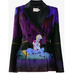 Mary Katrantzou Centaur velvet printed blazer ($2,320) ❤ liked on Polyvore featuring outerwear, jackets, blazers, floral-print blazers, blazer jacket, long sleeve jacket, multi color blazer and patterned blazer