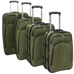 Click Image Above To Buy: Kemyer 4-piece Expandable Upright Luggage Set - Olive Green