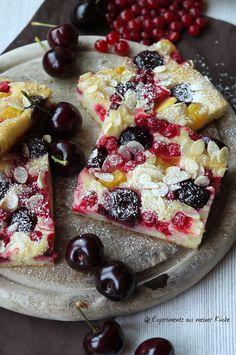 Experimente aus meiner Küche: Sommerlich leichter Kirsch-Allerlei-Kuchen #kirschen #kirschkuchen #ichbacksmir