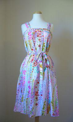 Vintage FLORAL Print Cotton Summer Dress