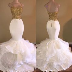 27ddd48da0 Aliexpress.com   Buy Sexy African White and Gold Prom Dresses Mermaid 2017  Spaghetti Strap Appliques Lace Ruffles Organza Backless Long Prom Dress  from ...