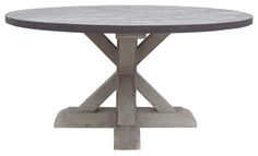 Zinc Round Table With Wooden Base - contemporary - dining tables - - by Dovecote Decor