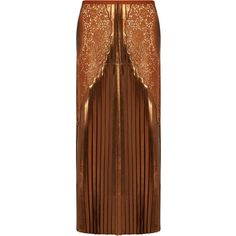 Stella McCartney Lace-panel pleated lamé midi skirt ($1,884) ❤ liked on Polyvore featuring skirts, pleated midi skirt, brown midi skirt, stella mccartney skirt, calf length skirts and metallic skirt