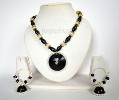 Classic Paper Quilling Necklace & Hoop Earrings Jewellery Set