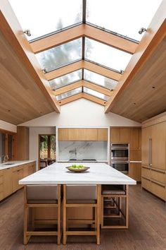 Skyroof over  timber designed Kitchen  Sub-Zero & Wolf appliances #skylightsskytubesskywindows