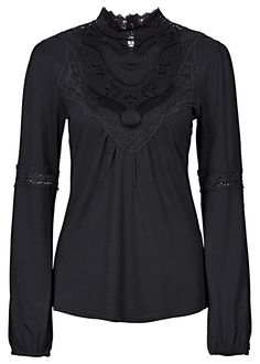 black high neck blouse with lace <3