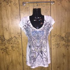 California Blue Tee California Blue graphic tee shirt. Short sleeves, v neckline. Beautiful design with many royal blue rhinestones, good used condition. Size medium, does stretch.   Tops Tees - Short Sleeve