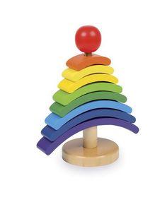 Drewniana układanka piramidka  drzewo. Mikołaj