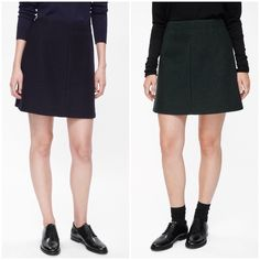 """COS A-Line Wool Skirt """"This short skirt is a simple A-line shape cut from lightly textured wool. Designed to sit on the waist and fully lined, it has a front seam detail and visible metal side-zip fastening."""" Labeled size 34, online chart matches it to an XS. Brown skirt. COS Skirts Mini"""