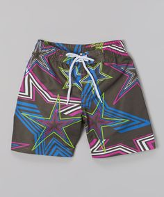 Love this Black & Blue Star Swim Trunks - Toddler & Boys by Turtle Bay on #zulily! #zulilyfinds