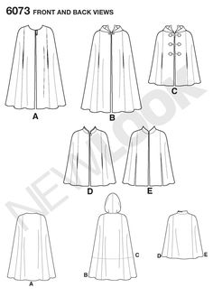 New Look 6073 Long cape: lining; Short cape: lining, button, frog or toggle closures Hooded Cloak Pattern, Cape Pattern, New Look Patterns, Simplicity Sewing Patterns, Sewing Clothes, Diy Clothes, Flat Drawings, Cool Costumes, Slytherin