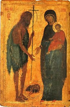 Saint John the Baptist and the Virgin and Child.Size: 101 x 67 cm. Very unusual icon. Byzantine Icons, Byzantine Art, Religious Icons, Religious Art, Madonna, Russian Icons, Biblical Art, Best Icons, Jean Baptiste