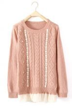 Pink Long Sleeve Contrast Mesh Yoke Embroidery Sweater $33.44
