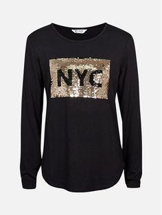 Svart - Langermet topp med paljetter Graphic Sweatshirt, Nyc, Sweatshirts, Sweaters, Fashion, Moda, Hoodies, Fashion Styles, Sweater
